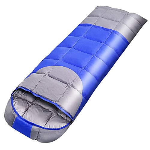 Outdoor Single Stitching Down Sleeping Bag, Ultralight Warm Camping Mummy Sleeping Bags with Storage Bag for Indoor Outdoor Traveling Hiking,Blue,1.5KG