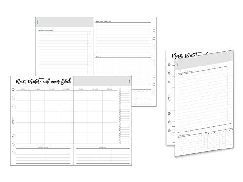 pen & pages® undatierte Monatsübersicht zum Ausklappen - Din A5-6 Löcher - Kalender A5 Organizer, Foldout, Aufgaben, Ziele, ToDo, Habit Tracker, Gewohnheiten, 14,8 x 21 cm