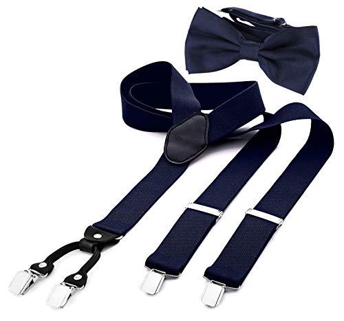 DonDon Tirantes para hombres ancho 3,5 cm en forma de Y, elásticos y ajustables en paquete de 2 con pajaritas adecuada en diferentes colores 12 x 6 cm