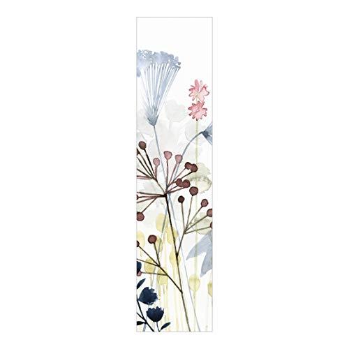 Cortina Deslizable Impresa Panel Japonés Wildflower Watercolor I Montaje de Pared 250 x 60cm