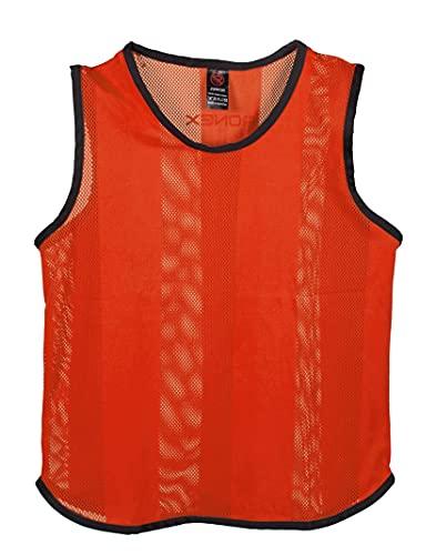 Petos de entrenamiento para fútbol - Adultos - PACK de x10 (Fluorescente naranja, Adulto)
