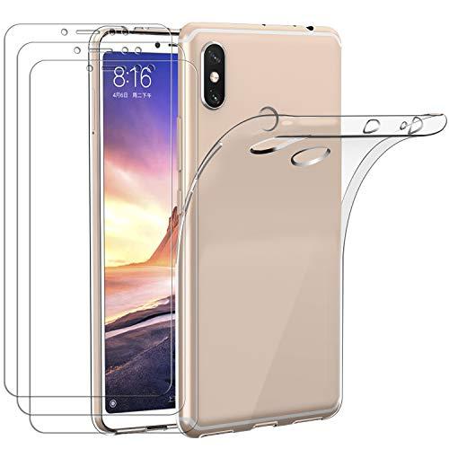 ivoler Funda para Xiaomi Mi MAX 3 + 3 Unidades Cristal Templado, Transparente TPU Silicona Anti-Choque Anti-arañazos [Carcasa + Vidrio Templado] Protector de Pantalla y Caso