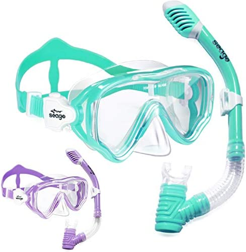 2 Pack Kids Snorkel Set Dry Top Snorkel Mask Snorkeling Gear for Kids Boys Girls Youth No Leak product image