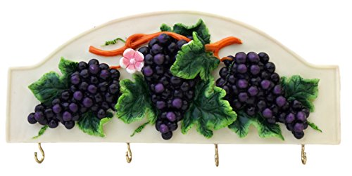 "3-D Grape Ceramic Key Holder 10""L, 82866 by ACK"