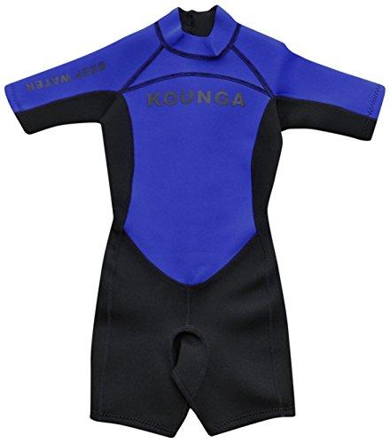Kounga DW 1.5 Traje de Neopreno Corto para Niño, Unisex niños, Azul/Negro, 8