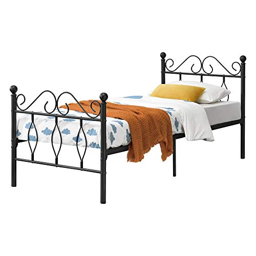 [en.casa] Metallbett 90x200 cm Einzelbett mit Kopf-und Fußteil Bettgestell Gästebett Metallgestell mit Lattenrost bis 200kg Schwarz