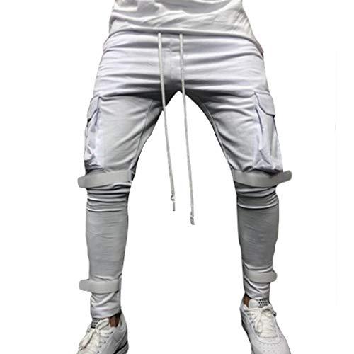 junkai Herren Retro Casual Hosen Große Tasche Fitness Klett-Slim-Jogginghose Sportwear Jogging-Outdoor-Hose Mit Kordelzug Weiß L