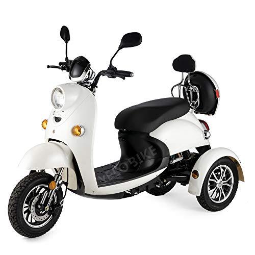 VELECO ZT63 Seniorenmobil Dreirad Retro Elektromobil Elektroroller Seniorenfahrzeug 25km/h Weiß