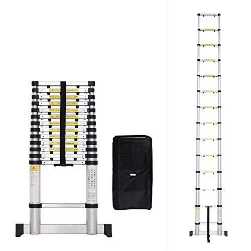 Todeco - Echelle Telescopique, Échelle Pliable - Charge maximale: 150 kg - Nombre de marches: 14-4,1 mètre(s), Sac de transport OFFERT, EN 131-6, Barre stabilisatrice, Écart supplémentaire