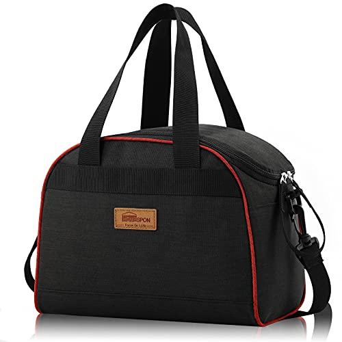 Newox - Homespon Large Lunch Bag Große Taschen für Bento Box für Picknick Schule Büroreisen (Schwarz)