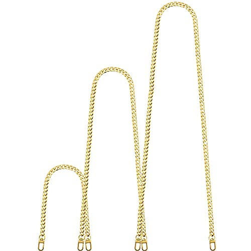 Replacement Flat Chains Iron Bag Chains Shoulder Straps Purse Link Chains, with Metal Slide Hook Buckles for DIY Handbags Crafts, 47.2 Inch 31.5 Inch 15.7 Inch (Gold,Serried Style)