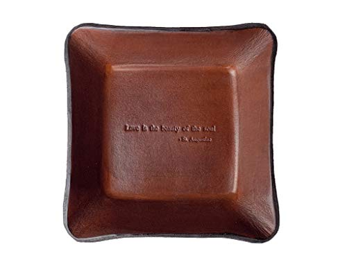 Twin Saints Brown Leather Third Anniversary Valet. St. Augustine Quote Inscribed Leather Desk Tray.