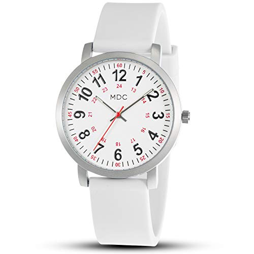 Medical White Watches for Women Watch with Second Hand for Nurses Waterproof 24 Hour Scrub Nursing Wristwatch Simple by MDC