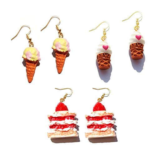 Lucky Meet 3 Pairs Ice Cream Drop Earring Funny Strawberry Cake Dangle Earrings Cute Colorful Resin Earring Creative Food Jewelry Pink Earring