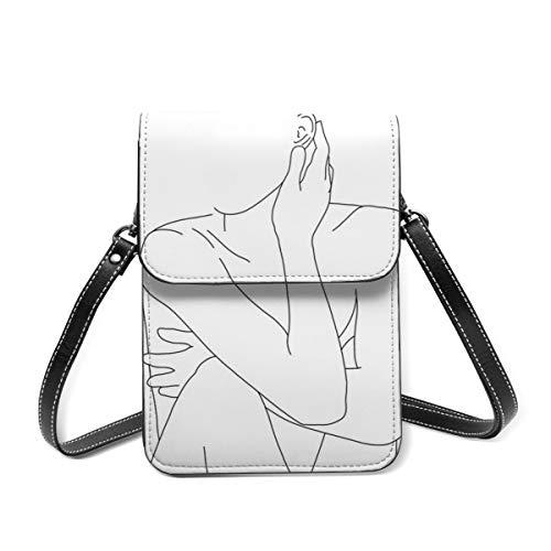 Monedero para teléfono celular, figura de dibujo de la vida desnuda Celina pequeña bolso de Crossbody mini bolso del teléfono celular pasaporte monedero con correa ajustable para el hombro