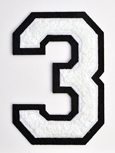 embroidered number 3 - 5