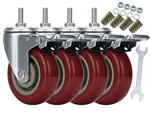 DICASAL 4 Inch Heavy Duty Stem Casters 360 Degree Swivel Durable Wheels Castors with Imperial Size 3/8
