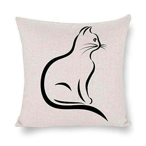 N/ A Housse de coussin carrée en lin avec imprimé chat - 50,8 x 50,8 cm - Pour canapé -...