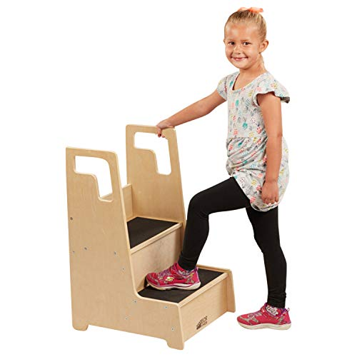 ECR4Kids Reach-Up Step Stool with Support Handles and Non-Slip, Two Step Counter Height Hardwood Stepping Stool for Kids and Toddlers, Natural Finish , Potty-Training507 - ELR-17429