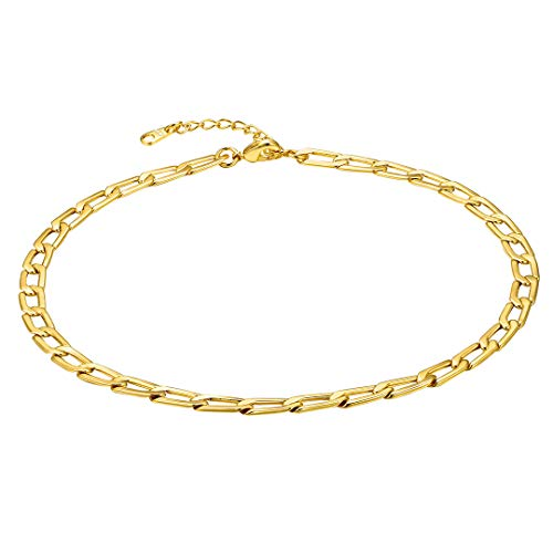 ChainsHouse Womens Simple Delicate 18K Gold Plated Chokers Link Necklaces 14'+2' Extender
