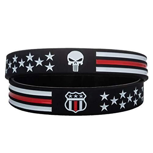 Sainstone Power of Faith USMC Skull Thin Red Line Silicone Bracelets with American Flag - Military Rubber Wristbands Gifts for U.S. Marine Corps, Coast Guard and Army (Unisex)