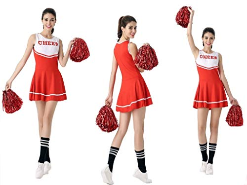 Cheerleader Rock Cheer Kostüm Komplettes Outfit mit Pompons,rot