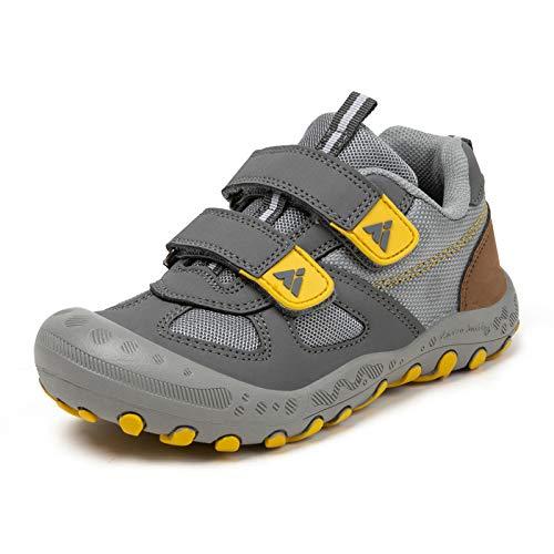 PAMRAY Kinderschuhe Turnschuhe Jungen Mädchen Trekking Wanderschuhe rutschfest Laufschuhe Running Sneaker Sports Grau 27 EU