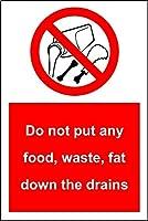 食品廃棄物脂肪を排水管の下に置かないでくださいティンサインの装飾ヴィンテージの壁金属プラークカフェバー映画ギフト結婚式誕生日警告