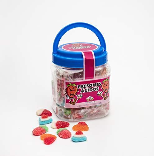 Bote con Asa Rellenos de Caramelos de Goma La Asturiana - Surtido de Chucherías (Corazones, Fresas...) Envueltas en Flow Pack en un Divertido Bote Reutilizable - 420 gramos - Sin Gluten