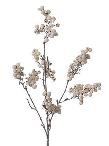 PARC Network - Kunstzweig Schneebeeren, Creme, 50 cm - Plastik schneebeere - Kunst knallerbse Pflanze - deko symphoricarpos Zweig - beeren künstlich