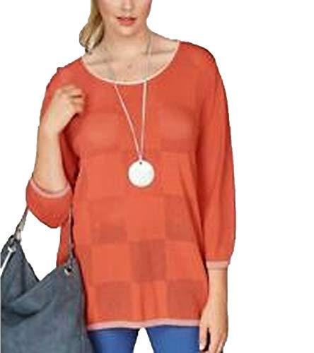 No Secret Strick-Pulli moderner Damen Pullover mit Karree-Form vorn Rundhals-Pullover Mode-Pulli Orange/Weiß, Größe:48