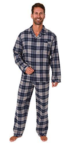 Herren Flanell Pyjama Schlafanzug Langarm zum durchknöpfen - 291 101 15 537, Farbe:Marine, Größe:54