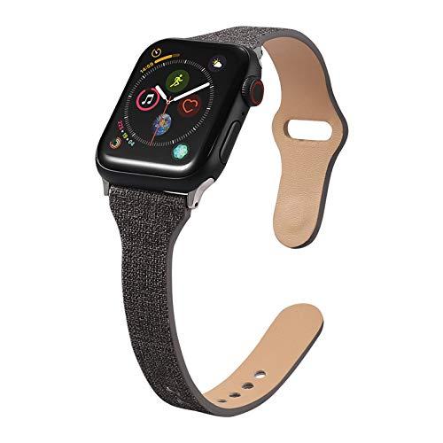 Fhony Correa de Reloj Compatible con Apple Watch 38mm 40mm 42mm 44mm Correa Cuero Repuesto de Correa Reloj para Hombre y Mujer para Iwatch Series 6 5 4 3 2 1 SE,Negro,38/40mm