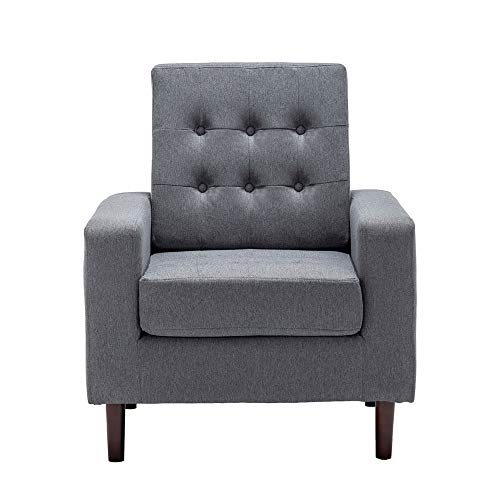 Modern Accent Fabric Chair Single Sofa Reading Chair Comfy Upholstered Small Space Arm Chair Bedroom Furniture