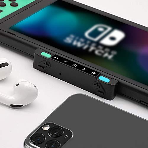 HomeSpot Bluetooth Adapter Pro für Nintendo Switch, Switch Lite mit Voice Chat und Audio Mixer zwischen Smartphone und Switch kompatibel mit Bluetooth Kopfhörer Bose Sony Jabra (Grün-Blau)