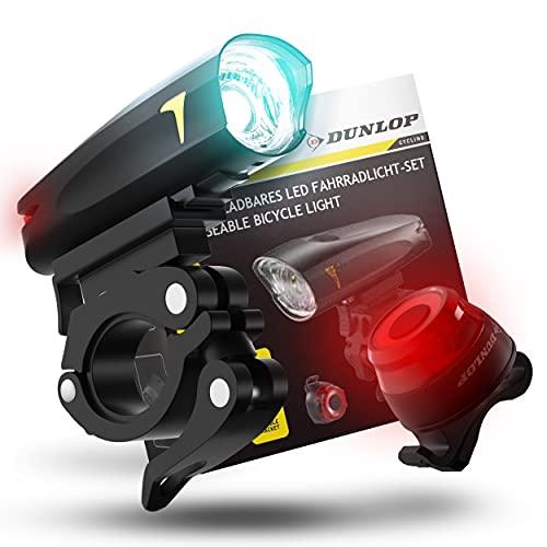 Dunlop Fahrradlicht Set Fahrrad Licht - Extra helles LED Licht mit Hochleistungs Akku - wasserdichte Marken Fahrradbeleuchtung mit Fahrradlampe vorne und Rücklicht Lampe Bike Light Fahrradzubehör