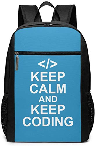 Keep Calm and Keep Coding Unisex Multiuso Borsa a Tracolla Zaini Scuola Libreria Casual Daypack Laptop Bag 17in Keep Calm and Keep Code. Keep Calm and Keep Coding