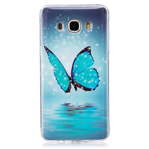 ISAKEN Kompatibel mit Galaxy J7 2016 Hülle, Slim Weiche TPU Silikon Glow im Dunkel Nacht Leuchtende Luminous Rückseite Back Hülle Tasche Schutzhülle für Samsung Galaxy J7 2016 - Schmetterling Blau