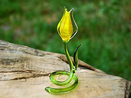 Yellow Glass Tulip Flowers Ornaments Tulips Figurine Flower Sculpture Art Glass Flower Murano Toys Big Garden Decoration Flower Miniature
