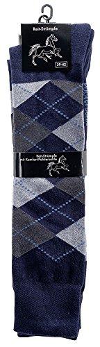 krautwear Damen Herren Mädchen Kinder Reit-Kniestrümpfe Kniestrümpfe Reitstrümpfe Dicke Polstersohle Temperaturregulierend Karo Muster Baumwolle, Marine/Grau, 31-34
