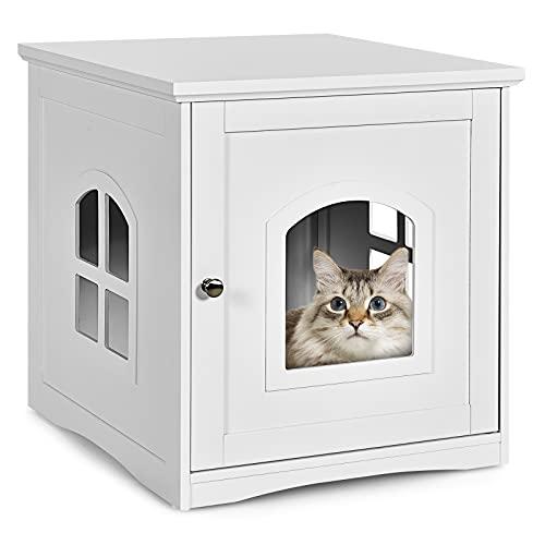 COSTWAY Katzenhaus Katzenklo mit magnetischer Tür, Kleintierhaus Katzentoilette Holz, Katzenschrank Haustier Haus Tierhaus 49x53x53cm (Weiß)