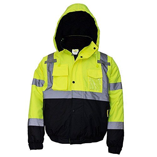 New York Hi-Viz Workwear WJ9012-L Men's ANSI Class 3 High Visibility Bomber Safety Jacket, Waterproof (Large, Lime)