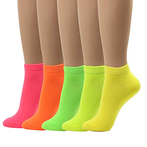 Women Neon Crew Ankle Socks Design Vivid Color Cool Gift For Teen 5 pairs, Neon Ankle - 5pairs, One Size Fit -  donoba