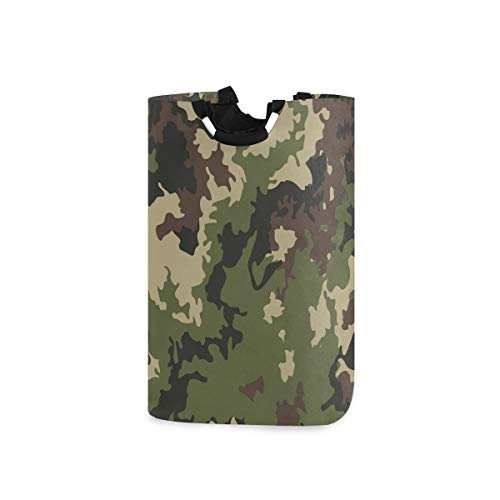 Unimagic Collapsible Laundry Basket Military Forest Camouflage Laundry Hamper Large Cloth Hamper Laundry Organizer Holder with Handle