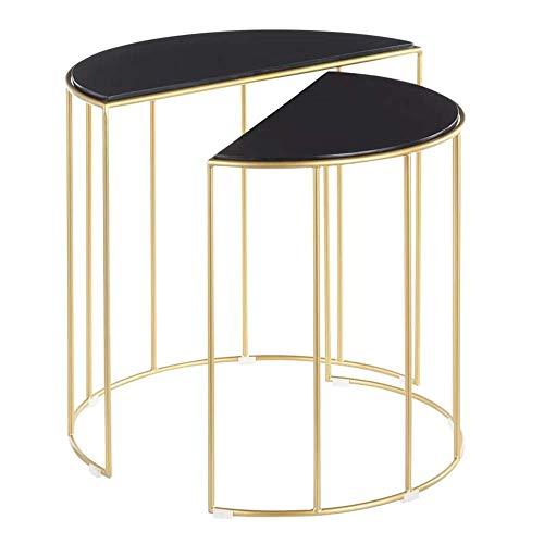 Home&Selected meubels/Nordic Marble geneste salontafel halfrond ontwerp woonkamer bank Side Table Save ruimte hoek tafel Set van 2 eindtafel (kleur: wit)