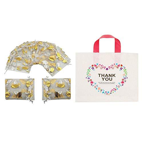 ETDWA Bolsa de Regalo de joyería de Organza de 100 Piezas, Bolsas de Regalo de Boda con cordón y Bolsas de Compras de plástico de 50 Piezas de Agradecimiento