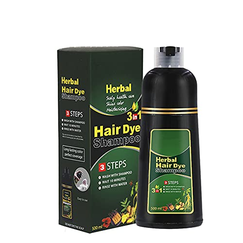 CYJX Natural 10 Mins Herbal Hair Darkening Shampoo, Black Hair Dye Shampoo 3 in 1 Women, Restore Lustrous and Shiny Hair Coloring Shampoo for Men and Women (Red Wine)
