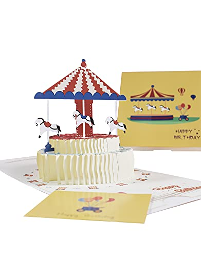 Biglietto d'anniversario 3D Pop Up Greeting Card, Biglietto di Auguri Pop-up 3D con Busta Inclusa,...