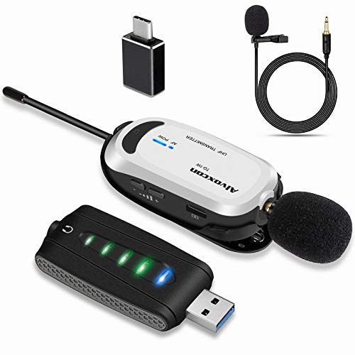 Wireless Lapel Microphone for Computer, Alvoxcon USB lavalier Mic System for Android, PC, Laptop, Speaker, Podcasting, Vlog, YouTube, Conference, Vocal Recording, Gaming (with Monitor Jack)