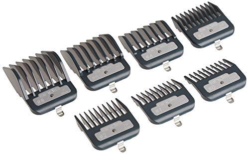 Andis Master Series Lot de 7 peignes en métal pour tondeuse à cheveux Noir